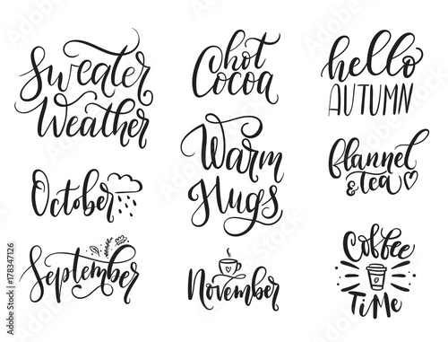 Big Set Of Autumn Quotes Isolated On White Background. Sweater Weather