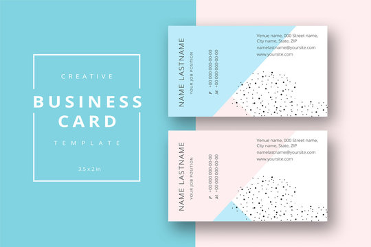 Trendy minimal abstract business card template in pink and blue. Modern corporate stationary id layout with geometric lines. Vector fashion background design with information sample name text.