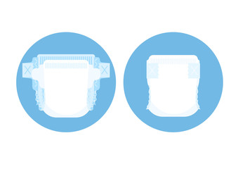 Diaper and buttoned diaper in blue circle Vector illustration.