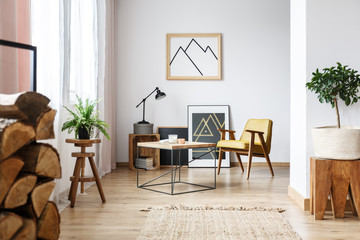 Apartment corner with pictures and armchair