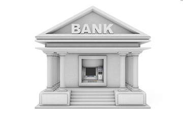 Build In Bank Cash ATM Machine As Bank Building. 3d Rendering