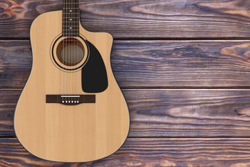 Wooden Acoustic Guitar. 3d Rendering