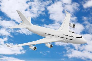 White Jet Passenger's Airplane. 3d Rendering