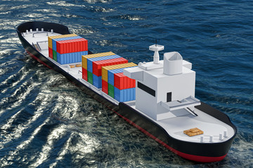 Business Logistic Concept. Tanker or Container Cargo Ship Moving in Ocean Water. 3d Rendering