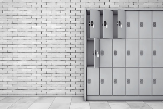 Metal Safety Lockers for Luggage. 3d Rendering