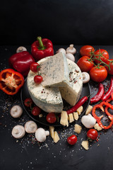 food photography art. gourmet blue cheese vegetables assortment mix concept