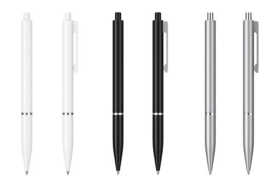 White, Black and Metal Mockup Ballpoint Pens with Blank Space for Yours Logo or Design. 3d Rendering