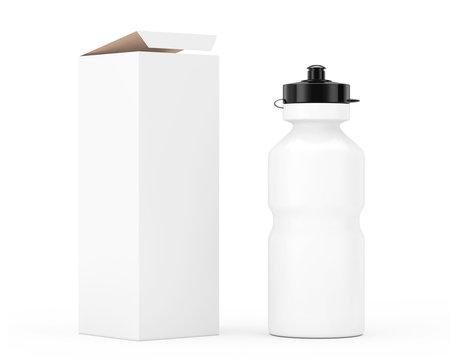 White Sport Plastic Water Bottle Mockup with Cardboard Kraft Paper Box Packaging. 3d Rendering
