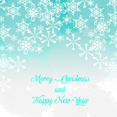 Merry Christmas and a Happy New Year card, background and soft snowflakes.