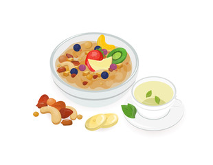 Bowl of tasty oat porridge decorated with fresh tropical fruits and cup of hot green tea isolated on white background. Homemade cereal dish, healthy breakfast meal. Colorful vector illustration.