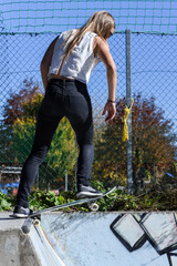 Skater Girl in urban Skate Park in Innsbruck Austria