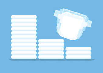 Diaper and stack of diapers on blue background. Vector illustration.