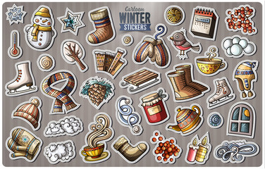 Set of Winter season cartoon stickers
