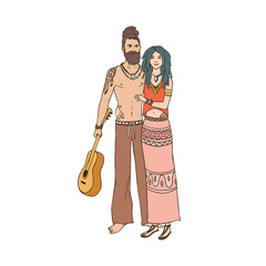 Pair of young hippies with dreadlocks. Man and woman wearing clothing with ethnic ornaments, standing together and embracing. Cartoon characters isolated on white background. Vector illustration.