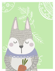 Hand drawn funny, cute sleeping rabbit with carrot  in Scandinavian style. Childish print for kids apparel, poster, postcard, stickers, cover. Vector Illustration.