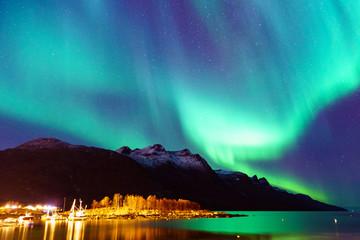 Foto op Plexiglas Noorderlicht Northern lights in Tromsø, Norway