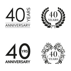 40 years anniversary set. Anniversary icon emblem or label collection. 40 years celebration and congratulation decoration element. Vector illustration.