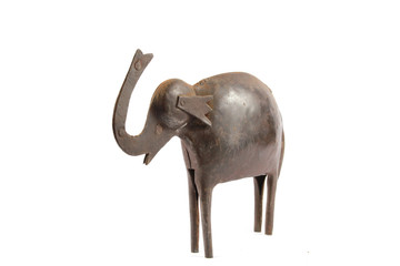 Abstract Statue of a Metal Elephant on White Background