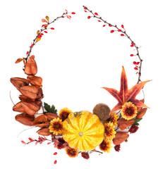 Nature Wreath of Pumpkin, Red Berry, Yellow Flower