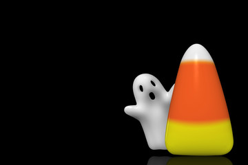 Halloween ghost flying behind a large candy corn isolated on black background.