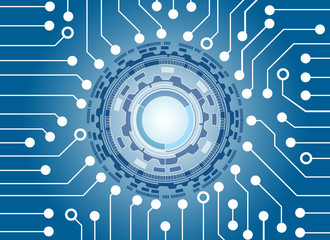 High-Tech Circuit Board and circle technology background, abstract technology background, vector illustration background