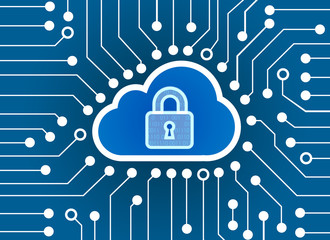 High-Tech Circuit Board and key lock and cloud  technology background, abstract technology background, Cyber Security Data Protection Business Technology Privacy concept,