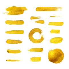 Hand drawn golden paint brush strokes set. Shiny abstract grunge textured isolated gold brush...