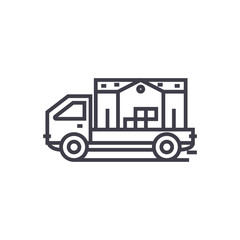 moving house truck concept vector thin line icon, sign, symbol, illustration on isolated background
