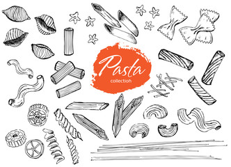 Vector hand drawn pasta set.