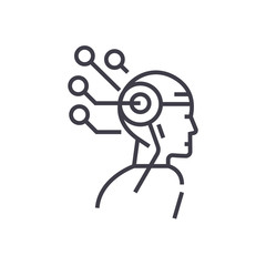 artificial intelligence head thinking concept vector thin line icon, sign, symbol, illustration on isolated background