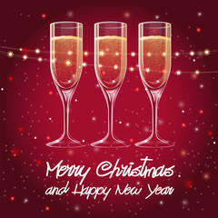 Merry Christmas and Happy New Year greeting cards with three champagne glasses and Christmas decorations, vector illustration