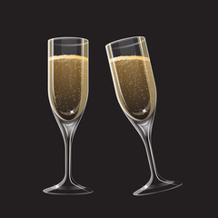 Two different isolated champagne glasses for Christmas design template, vector illustration
