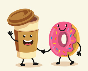 Funny cartoon characters coffee and donut.