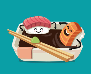 Sushi fun character in bath sauce.