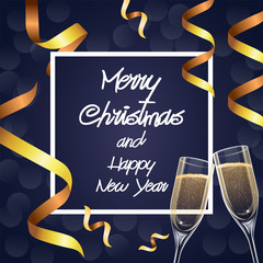 Merry Christmas and Happy New Year greetings card with champagne glasses and golden ribbons, frame lettering, illustration design template