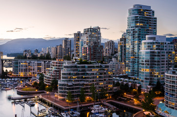View of Downtown Vancouver a Twilight