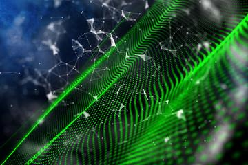 Green digital wave in space