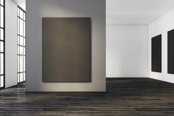 Contemporary concrete interior with canvas