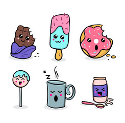 kawaii food set. Sweet kawaii characters illustrations. Hand drawn doodles with emotions. Vector illustration.