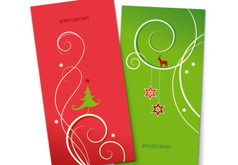 Christmas Greeting Card Set in Red and Green
