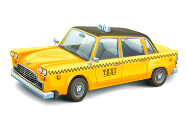 Yellow urban taxi cab isolated on white background. High detailed vector car. Taxi service. City transport.