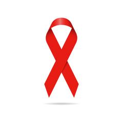 Red ribbon, world aids day symbol. Vector illustration