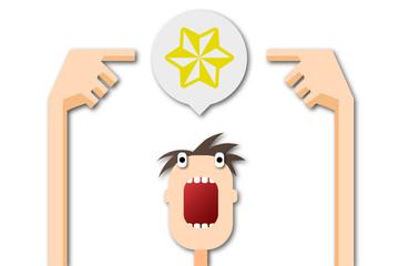Cartoon Mann zeigt auf Sprechblase - Stern
