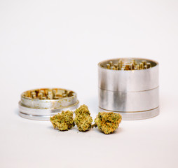 Isolated Cannabis and Grinder