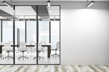 Modern meeting room with empty wall