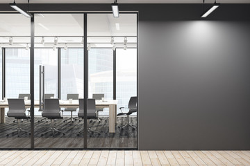 Contemporary meeting room with empty wall