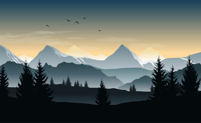 Zelfklevend Fotobehang Donkergrijs Vector landscape with silhouettes of trees, hills and misty mountains and morning or evening sky