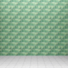 3d interior rendering of green decorated concrete-framed glass blocks and tiled floor