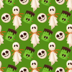 Printed roller blinds Pattern Halloween cookie seamless pattern background food night cake party trick or treat candies vector illustration.