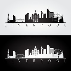 Liverpool skyline and landmarks silhouette, black and white design, vector illustration.